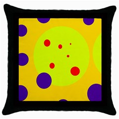 Yellow And Purple Dots Throw Pillow Case (black) by Valentinaart