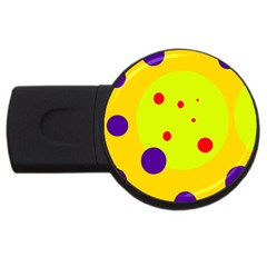 Yellow And Purple Dots Usb Flash Drive Round (4 Gb)  by Valentinaart