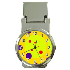 Yellow And Purple Dots Money Clip Watches by Valentinaart