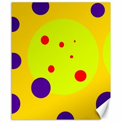 Yellow And Purple Dots Canvas 8  X 10  by Valentinaart