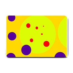 Yellow And Purple Dots Small Doormat  by Valentinaart
