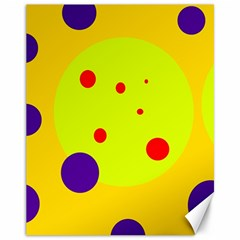 Yellow And Purple Dots Canvas 11  X 14   by Valentinaart