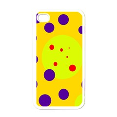 Yellow And Purple Dots Apple Iphone 4 Case (white) by Valentinaart