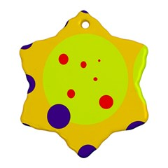 Yellow And Purple Dots Ornament (snowflake)  by Valentinaart