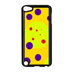Yellow And Purple Dots Apple Ipod Touch 5 Case (black) by Valentinaart