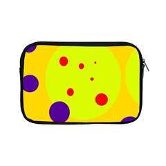 Yellow And Purple Dots Apple Ipad Mini Zipper Cases by Valentinaart
