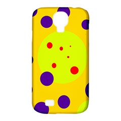 Yellow And Purple Dots Samsung Galaxy S4 Classic Hardshell Case (pc+silicone) by Valentinaart