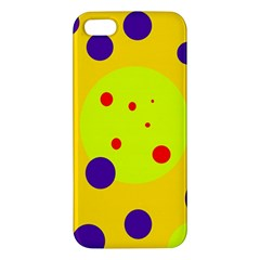 Yellow and purple dots iPhone 5S/ SE Premium Hardshell Case by Valentinaart