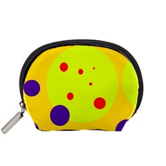 Yellow And Purple Dots Accessory Pouches (small)  by Valentinaart