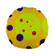 Yellow And Purple Dots Standard 15  Premium Flano Round Cushions by Valentinaart