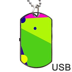 Colorful Abstract Design Dog Tag Usb Flash (one Side) by Valentinaart