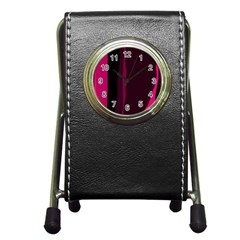 Pink And Black Lines Pen Holder Desk Clocks by Valentinaart