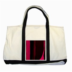 Pink And Black Lines Two Tone Tote Bag by Valentinaart