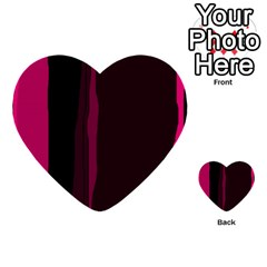 Pink and black lines Multi-purpose Cards (Heart)  by Valentinaart