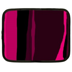 Pink And Black Lines Netbook Case (large) by Valentinaart