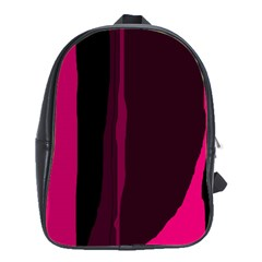 Pink And Black Lines School Bags(large)  by Valentinaart