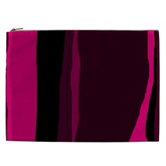 Pink And Black Lines Cosmetic Bag (xxl)  by Valentinaart