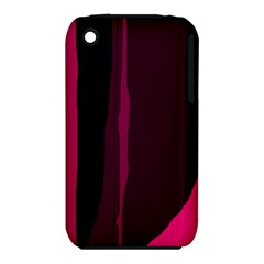 Pink And Black Lines Apple Iphone 3g/3gs Hardshell Case (pc+silicone) by Valentinaart
