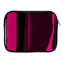 Pink and black lines Apple iPad 2/3/4 Zipper Cases by Valentinaart
