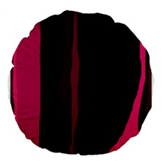 Pink And Black Lines Large 18  Premium Flano Round Cushions by Valentinaart