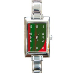 Green And Red Lines Rectangle Italian Charm Watch by Valentinaart