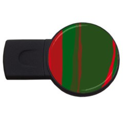 Green And Red Lines Usb Flash Drive Round (2 Gb)  by Valentinaart