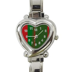 Green And Red Lines Heart Italian Charm Watch