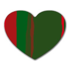 Green And Red Lines Heart Mousepads by Valentinaart