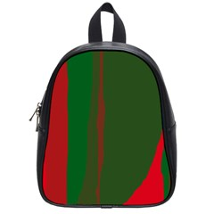 Green And Red Lines School Bags (small)  by Valentinaart