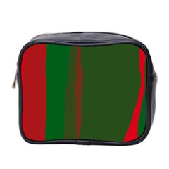 Green And Red Lines Mini Toiletries Bag 2 Side by Valentinaart