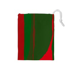 Green And Red Lines Drawstring Pouches (medium)  by Valentinaart