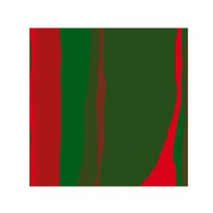 Green And Red Lines Small Satin Scarf (square) by Valentinaart