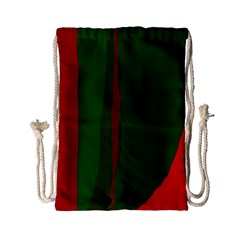 Green And Red Lines Drawstring Bag (small) by Valentinaart