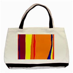 Hot Colorful Lines Basic Tote Bag by Valentinaart
