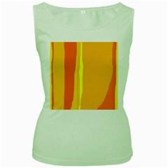 Yellow And Orange Lines Women s Green Tank Top by Valentinaart