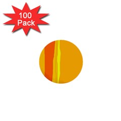 Yellow And Orange Lines 1  Mini Buttons (100 Pack)  by Valentinaart