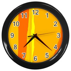 Yellow And Orange Lines Wall Clocks (black) by Valentinaart