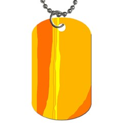 Yellow And Orange Lines Dog Tag (two Sides) by Valentinaart