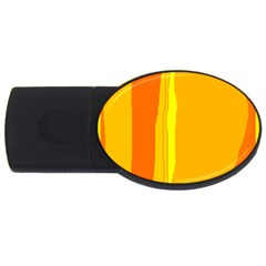 Yellow And Orange Lines Usb Flash Drive Oval (2 Gb)  by Valentinaart