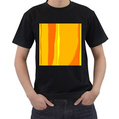 Yellow And Orange Lines Men s T Shirt (black) (two Sided) by Valentinaart