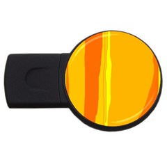 Yellow And Orange Lines Usb Flash Drive Round (4 Gb)  by Valentinaart