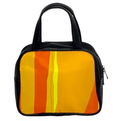 Yellow And Orange Lines Classic Handbags (2 Sides) by Valentinaart