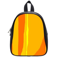 Yellow And Orange Lines School Bags (small)  by Valentinaart