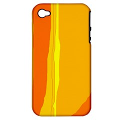 Yellow And Orange Lines Apple Iphone 4/4s Hardshell Case (pc+silicone) by Valentinaart