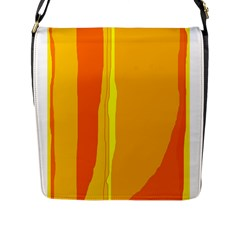 Yellow And Orange Lines Flap Messenger Bag (l)