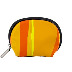 Yellow And Orange Lines Accessory Pouches (small)  by Valentinaart