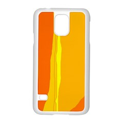 Yellow And Orange Lines Samsung Galaxy S5 Case (white) by Valentinaart