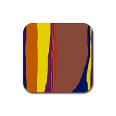 Colorful lines Rubber Coaster (Square)  by Valentinaart
