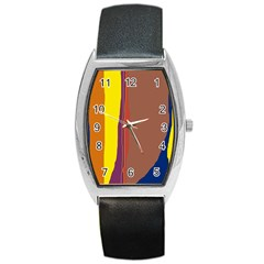 Colorful Lines Barrel Style Metal Watch by Valentinaart
