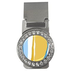 Blue And Yellow Lines Money Clips (cz)  by Valentinaart